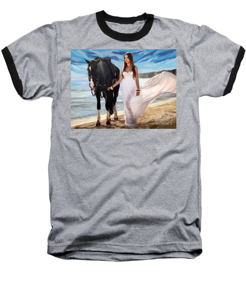 Baseball T-Shirt featuring the painting Girl And Horse On Beach by Tim Gilliland