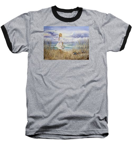 Girl At The Ocean Baseball T-Shirt