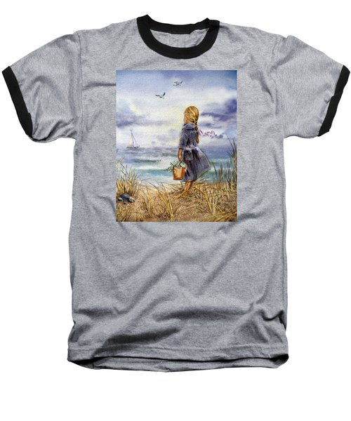 Girl And The Ocean Baseball T-Shirt