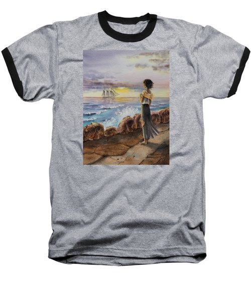 Baseball T-Shirt featuring the painting Girl And The Ocean Sailing Ship by Irina Sztukowski
