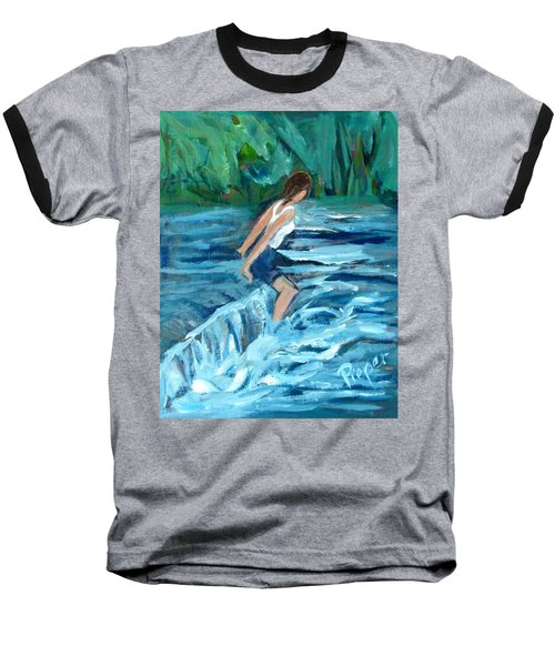 Baseball T-Shirt featuring the painting Girl Bathing In River Rapids by Betty Pieper