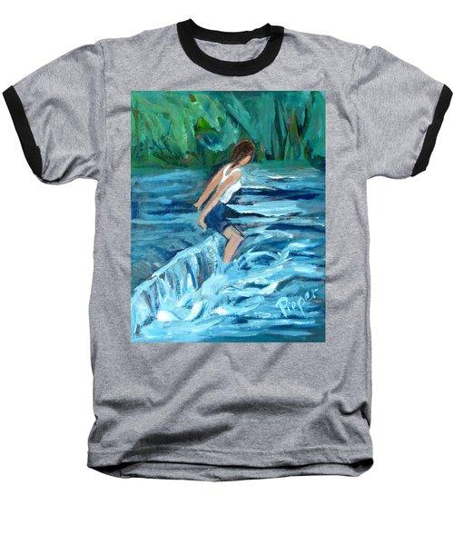 Girl Bathing In River Rapids Baseball T-Shirt