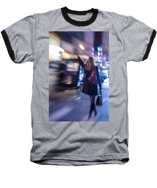 Girl Catching A Taxi In Manhattan Baseball T-Shirt