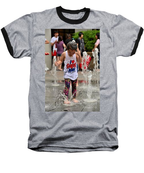 Girl Child Plays With Water At Fountain Singapore Baseball T-Shirt