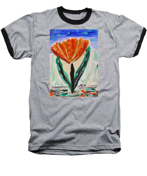 Baseball T-Shirt featuring the painting Girl-flowers From The Flower Patch by Mary Carol Williams