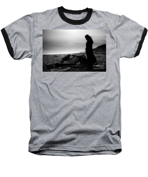 Girl On The Beach Baseball T-Shirt