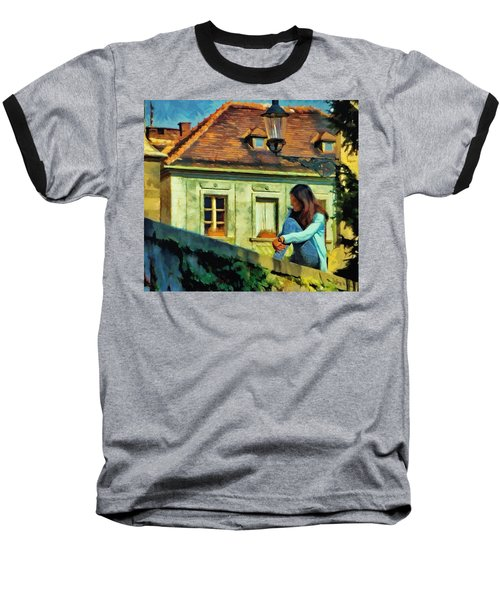 Baseball T-Shirt featuring the painting Girl Posing On Stone Wall by Jeff Kolker