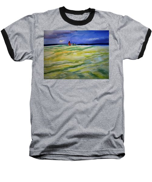 Girl With Dog On The Beach Baseball T-Shirt