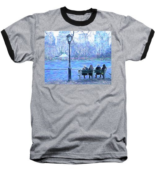 Girls At Pond In Central Park Baseball T-Shirt