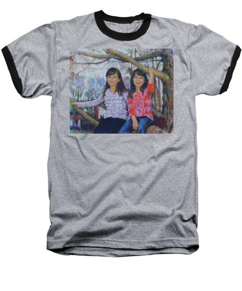 Baseball T-Shirt featuring the drawing Girls Upon The Tree by Viola El