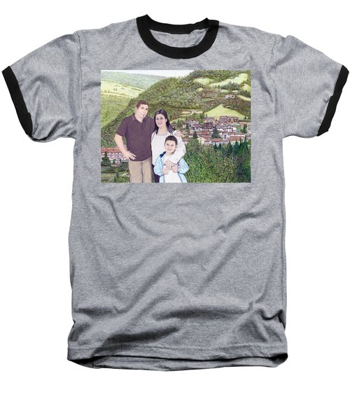 Baseball T-Shirt featuring the painting Giusy Mirko And Simone In Valle Castellana by Albert Puskaric