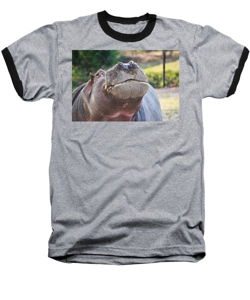 Baseball T-Shirt featuring the photograph Give Me A Kiss Hippo by Eti Reid