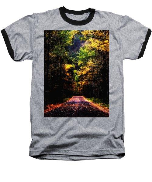 Glacier Fall Road Baseball T-Shirt by Susan Kinney
