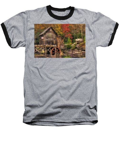 Glade Creek Grist Mill-1a Babcock State Park Wv Autumn Late Afternoon Baseball T-Shirt