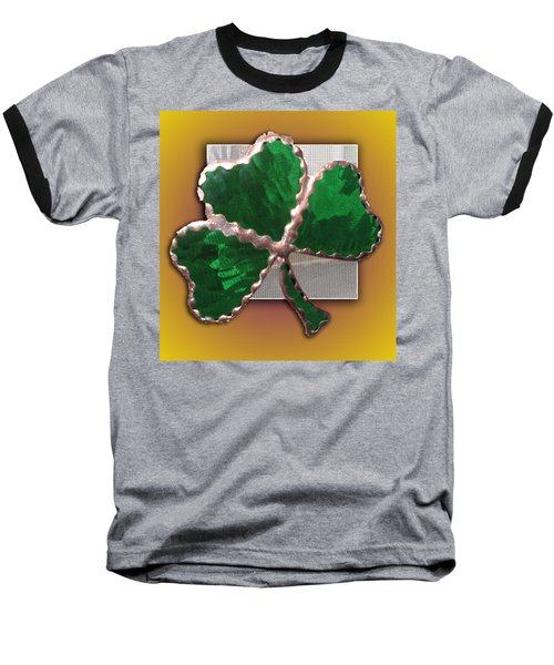 Baseball T-Shirt featuring the photograph Glass Shamrock by Barbara McDevitt