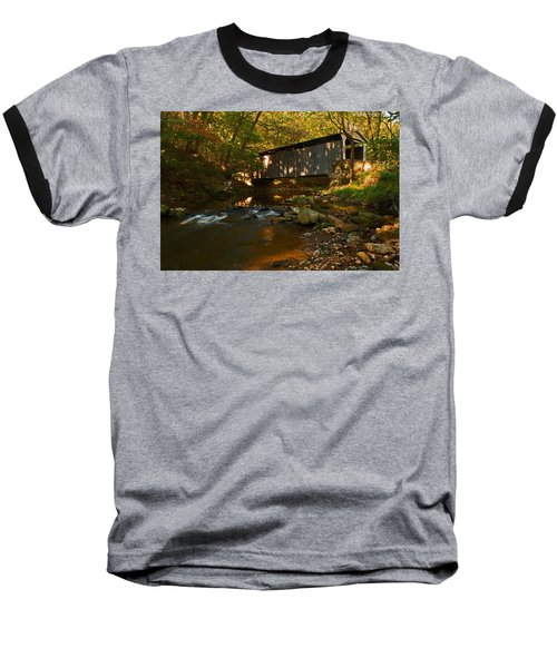 Glen Hope Covered Bridge Baseball T-Shirt by Michael Porchik