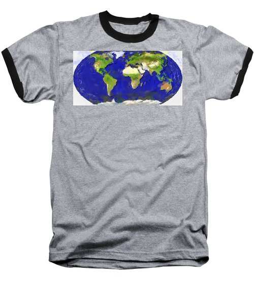 Global Map Painting Baseball T-Shirt