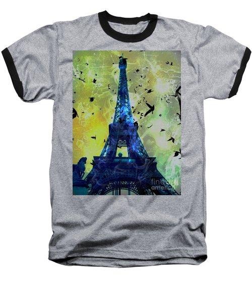 Glowing Eiffel Tower Baseball T-Shirt