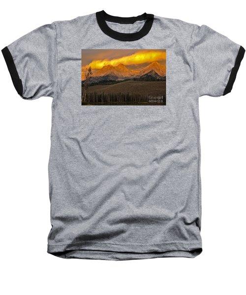 Glowing Sawtooth Mountains Baseball T-Shirt