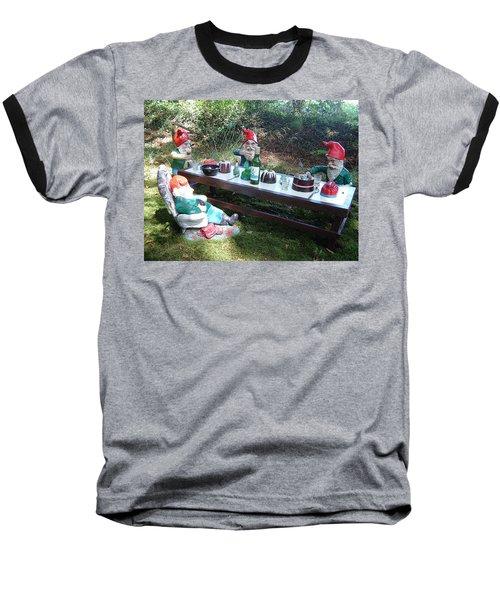 Gnome Cooking Baseball T-Shirt by Richard Brookes