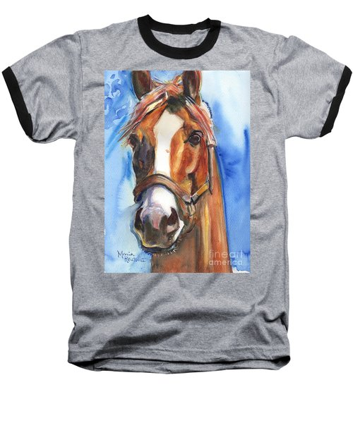 Horse Painting Of California Chrome Go Chrome Baseball T-Shirt by Maria's Watercolor
