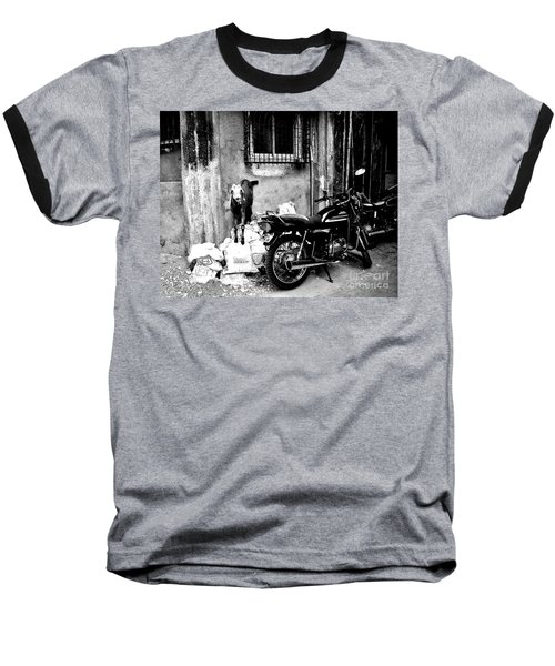 Goatercycle Black And White Baseball T-Shirt