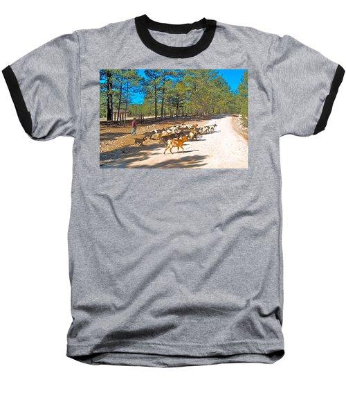 Goats Cross The Road With Tarahumara Boy As Goatherd-chihuahua Baseball T-Shirt