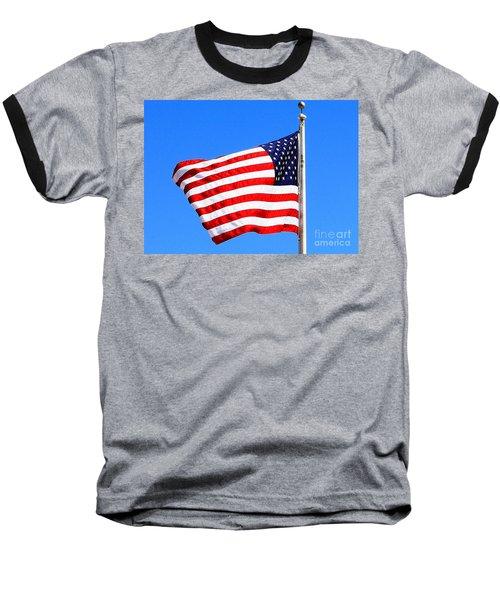Baseball T-Shirt featuring the photograph God Bless America by Judy Palkimas