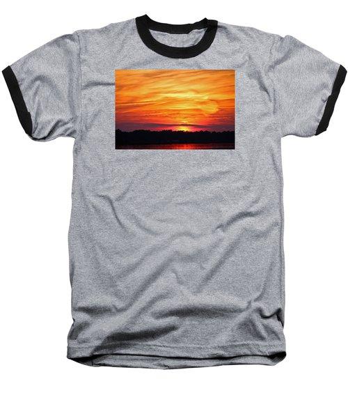 God Paints The Sky Baseball T-Shirt by Cynthia Guinn