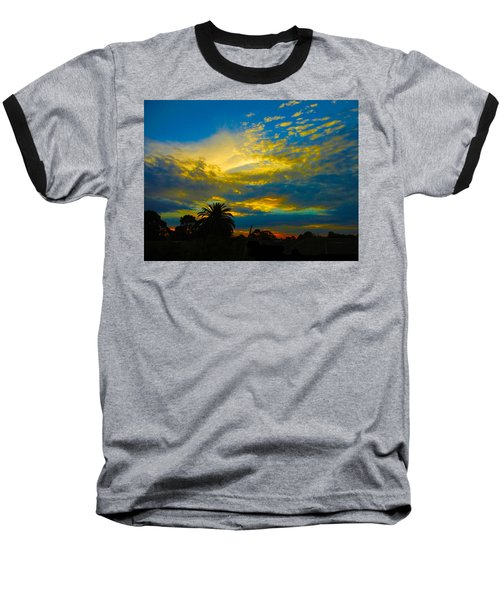Gold And Blue Sunset Baseball T-Shirt by Mark Blauhoefer