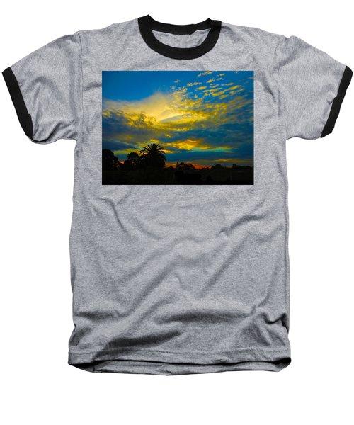 Gold And Blue Sunset Baseball T-Shirt