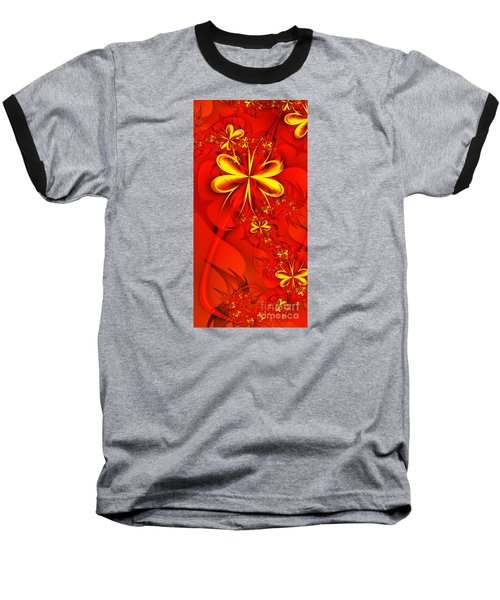 Gold Flowers Baseball T-Shirt by Lena Auxier