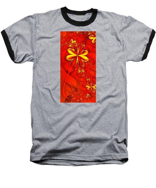 Gold Flowers Baseball T-Shirt