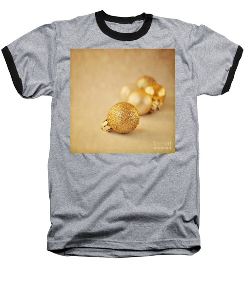Gold Glittery Christmas Baubles Baseball T-Shirt by Lyn Randle