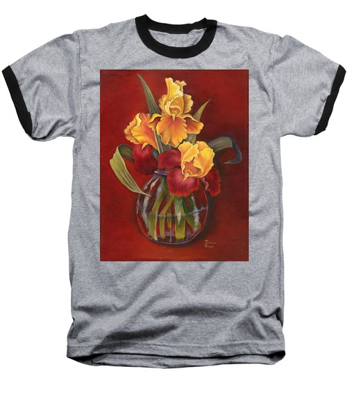 Gold N Red Iris Baseball T-Shirt