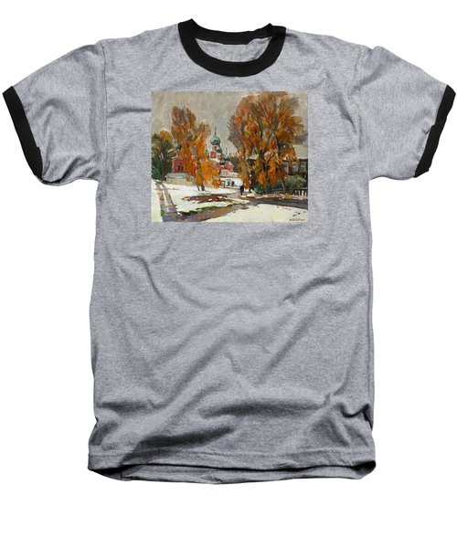 Golden Autumn Under Snow Baseball T-Shirt