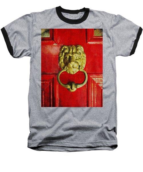 Golden Brass Lion On Red Door Baseball T-Shirt by Brooke T Ryan