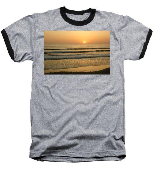 Golden California Sunset - Ocean Waves Sun And Surfers Baseball T-Shirt