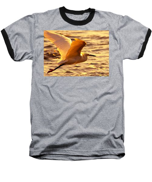 Golden Egret Bird Nature Fine Photography Yellow Orange Print  Baseball T-Shirt