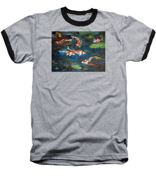 Golden Fish Baseball T-Shirt by Jieming Wang