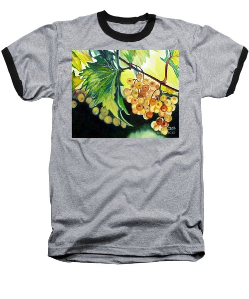 Baseball T-Shirt featuring the painting Golden Grapes by Julie Brugh Riffey