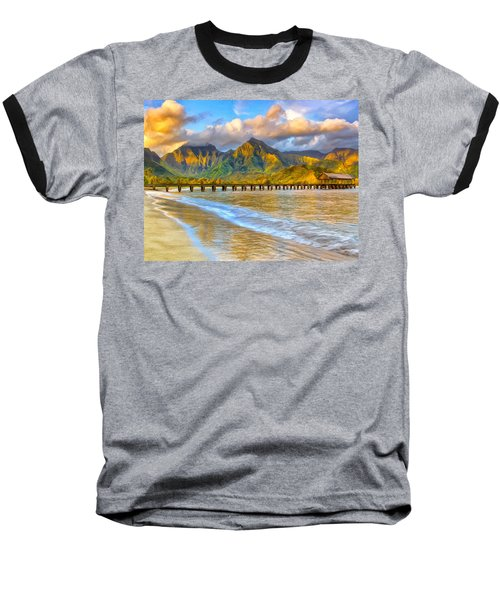 Golden Hanalei Morning Baseball T-Shirt by Dominic Piperata