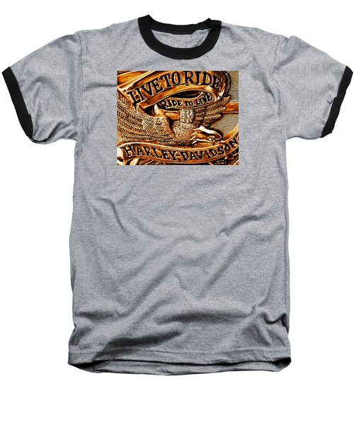 Golden Harley Davidson Logo Baseball T-Shirt by Chris Berry