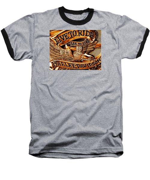 Golden Harley Davidson Logo Baseball T-Shirt