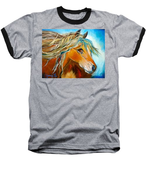 Baseball T-Shirt featuring the painting Golden Horse by Jenny Lee