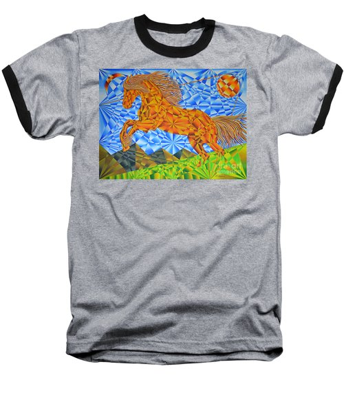 Baseball T-Shirt featuring the painting Golden Horse Over The Bitterroot's by Joseph J Stevens