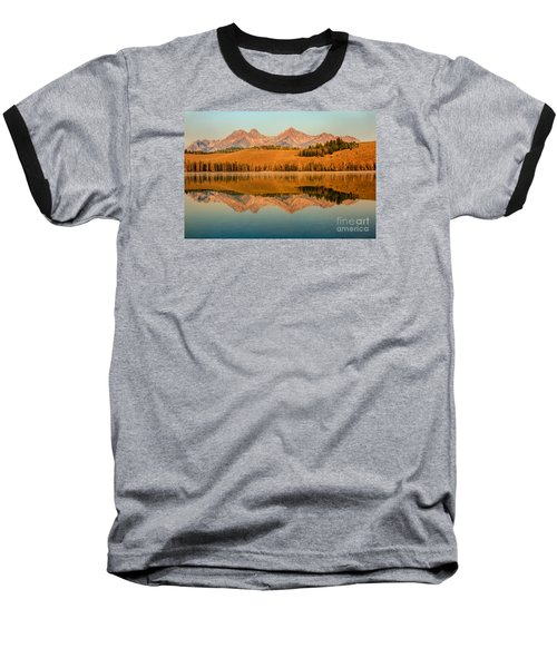 Golden Mountains  Reflection Baseball T-Shirt by Robert Bales