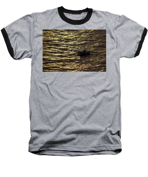 Golden Ocean Baseball T-Shirt by Miroslava Jurcik