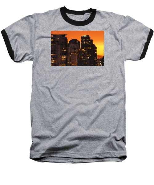 Baseball T-Shirt featuring the photograph Golden Orange Cityscape Dccc by Amyn Nasser
