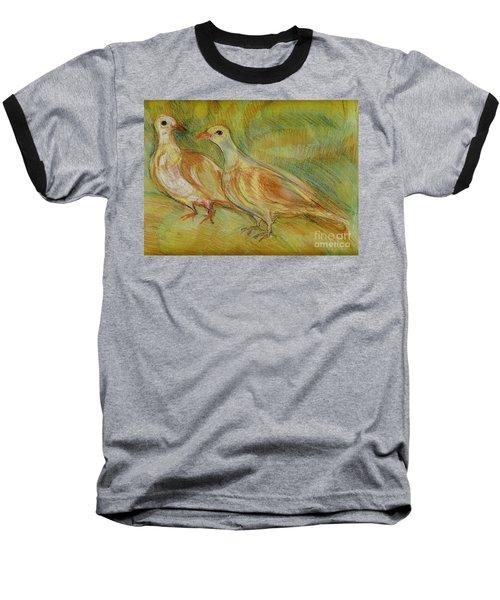 Golden Pigeons Baseball T-Shirt by Anna Yurasovsky